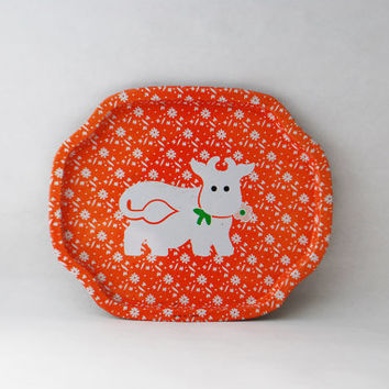 Vintage Orange Cow Tin Tray - Cute Animal Serving Platter, Vintage Ash Tray, Jewelry Tray, Vintage Catch All, Serving Plate