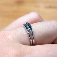 Hidden raw diamond ring, sterling silver, blue and dark blue diamonds - dainty stacking ring