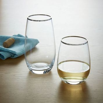 Stemless Glassware - Platinum Rimmed (Set of 4)