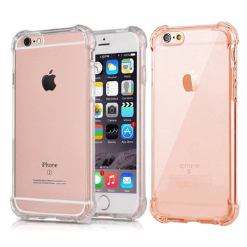 [2Pack]iPhone 6S Plus Case iPhone 6 Plus Case, CaseHQ Crystal Clear Enhanced Grip Protective Defender cover Soft TPU Shell Shock-Absorption Bumper Anti-Scratch Air Cushioned 4 Corners Clear+pink