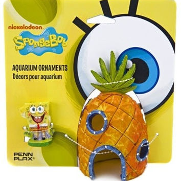 AQUATICS - ORNAMENTS/DECOR - SPONGEBOB/PINEAPPLE 2PC ORNMNT - COMBO PACK ORNAMENT - PENN PLAX INC - UPC: 30172070747 - DEPT: AQUATIC PRODUCTS
