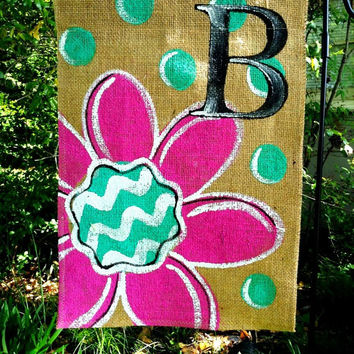 Burlap Garden Flag Cosmic Pink And Turquoise With Monogram