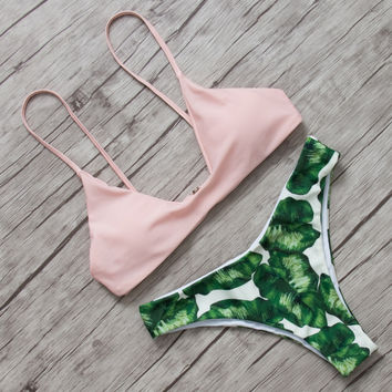 Bikinis 2017 Sexy Swimwear Women Swimsuit Push Up Brazilian Bikini set Leaf Printed Summer Beach Bathing Suit female Biquini