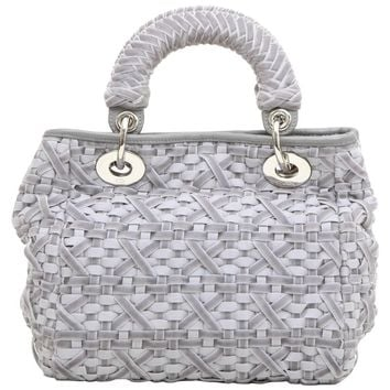 CHRISTIAN DIOR Lady D Bag in Gray Woven, Cotton and Leather Ribbons
