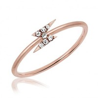 Mini Diamond Lighting Bolt Stack Ring by EF Collection