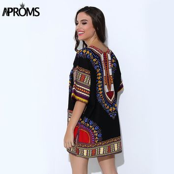 Aproms Traditional African Clothing for Women Shirt Unisex White Classic Cotton Dashiki Tops Plus Size Summer Print Blouses