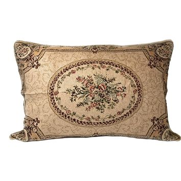 Tache 1-2 Chenille Woven Medallion Yellow Desert Blossoms Pillow Sham (DSC0015)
