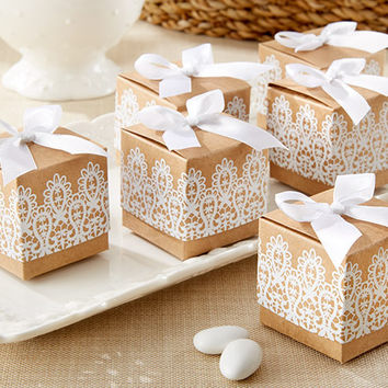 Country Rustic with Lace Kraft Favor Box