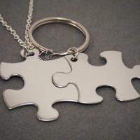Puzzle piece Keychain and Necklace set, Non-Customizable puzzle pieces, Couples Gift, Long Distance Relationship, 1 keychain 1 necklace