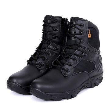 Side Zipper Brand Men Army Shoess Men Military Tactical Boots Outdoor Hiking Desert Genuine Leather Ankle Boots Male Combat Boot