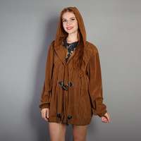 80s SILKY Brown PARKA / Toggle Closure Lightweight Hooded Jacket
