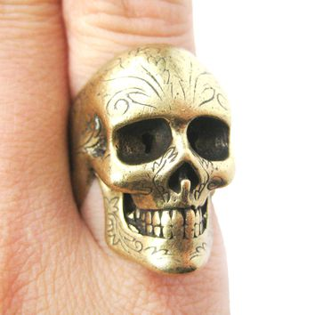 Realistic Skull Skeleton Shaped Unisex Ring with Tattoo Details in Brass | DOTOLY