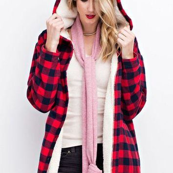 Easel flannel plaid jacket with faux fur lining