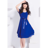 Blue Short Sleeves High Waist Chiffon Dress with Ribbon Belt