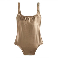 J.Crew Womens Long Torso Metallic Gold Scoopback One-Piece Swimsuit