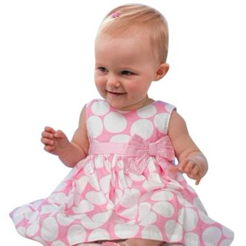 Summer 2017 New kids baby girl dress cute polka dots children sleeveless clothes lovely girls dress DS30