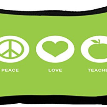 Rikki Knight Peace Love Teacher Lime Green Color Neoprene Pencil Case (dky-Neo-pc42246)
