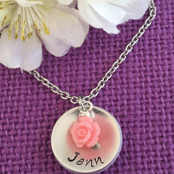 Flower Girl Gift - Flower Girl Necklace - Personalized Necklace - Personalized Name -Wedding Jewelry - Bridal Jewelry - Bridesmaid Gift
