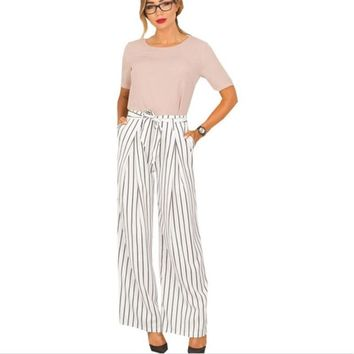 Fashion Formal Trousers For Women High Waist Pants Woman Elegant Office Lady Pants Female Plus SizeWide Leg Summer Women's Pants