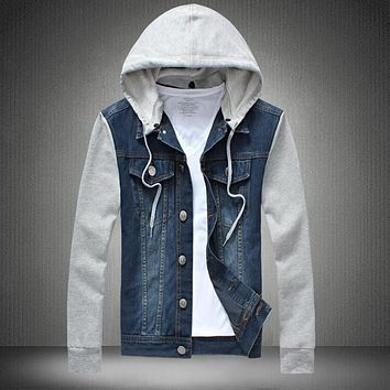 2016 Denim Jacket men hooded sportswear Outdoors Casual fashion Jeans Jackets Hoodies Cowboy Mens Jacket Coat Plus Size 4XL 5XL