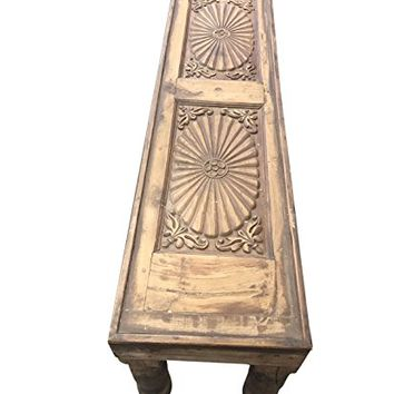 Mogul Interior Antique India Low Table Teak Furniture Hand Carved Chakra  Carving Wood Bench Console Table
