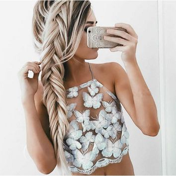 3a2225092c Sexy Vintage Women Crops Top Crochet Lace Floral Tops Hollow V-N