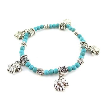 Boho Chic Turquoise Beaded Elephant Floral Charm Stretchy Bracelet in Silver