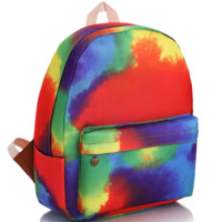 Tie Dye Printed Canvas Backpack College School Bag Travel Daypack