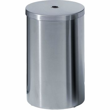 DW 114 Round Trash Can, Stainless Steel Wastebasket W/ Lid Cover