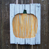 Rustic Wood Sign, Hand Painted White wash, Pumpkin, Halloween, Fall Decor, wood slats, November, Autumn, Barn Wood, October, Pallet Wood