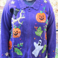 SALE!!! Halloween sweater, halloween clothes, tacky christmas sweater, tacky holiday sweater, holiday sweater, halloween, purple sweater