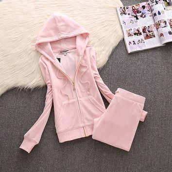 Juicy Couture Simple Pure Color Velour Tracksuit 611 2pcs Women Suits Light Pink