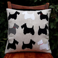 "Pillow 16 ""x16"" . Scottish Terrier Dogs. Applique fabric, linen, cotton, rayon. Black and white."