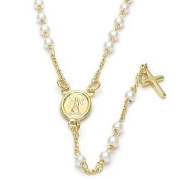 Gold Layered 09.02.0034.18 Thin Rosary, Divino Niño and Cross Design, with Ivory Mother of Pearl, Polished Finish, Golden Tone