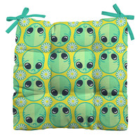 Chobopop Sad Alien And Daisy Pattern Outdoor Seat Cushion