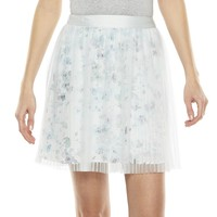 LC Lauren Conrad Floral Pleated Mesh Skirt