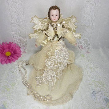Vintage Angel, Tree Topper Angel, Christmas Angel, Ceramic Angel, Unique Christmas Item, 1950's Tree Topper, Angels, Christmas Trees, Wings
