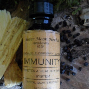 Immunity - Immune Support Tincture - Elderberry - Echinacea - Astragalus - Triple Defense - 1 oz.  Crystal Blessed