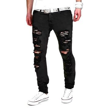 Pants Men fashion new original design hole pants jogger pants brand high quality jeans casual street straight hip hop jogge