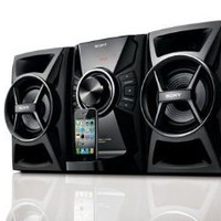 Sony 100 watts Hi-Fi Stereo Audio Sound System with iPod & iPhone Dock, CD Player, AM/FM Receiver with 30 Station Presets, Sleep Timer, Play Timer, DSGX Bass Boost, 7 Preset Equalizers, 2-way Bass Reflex Speakers, Alarm Clock, Child Lock & Full Function Re