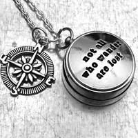 Mini Not All Those Who Wander Are Lost Working Compass, Open Face Compass, Compass, Travel Gift