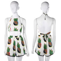 Sexy Women's Pineapple Print Halter Tops And Shorts Two Piece Set Playsuit 2016 New Sale