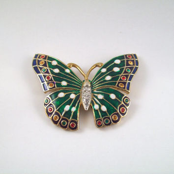 Beautiful Vintage Green Jeweled Butterfly Brooch
