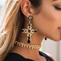 Vintage Boho Crystal Cross Drop Earrings