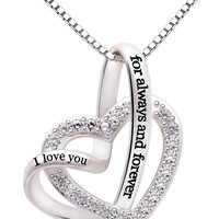 "Jewelry Sterling Silver ""I love you for always and forever"" Love Heart Cubic Zirconia Necklace"