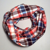Handmade Infinity Scarf Plaid Flannel, Child, Kid Size, Double Layer Super Warm!  Christmas Gift