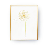 Dandelion Real Gold Foil Print, Dandelion Poster, Flower Gold Foil, Flower Print, Home Decor, Dandelion Wall Art, Floral Decor, A4 print