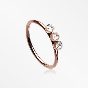 Rose Gold Triple Gem Sparkle Bendable Twist Hoop Ring
