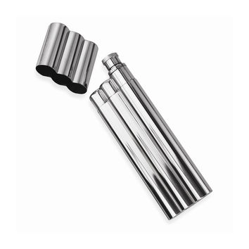 Polished Stainless Steel Two Cigar Holder Flask - Engravable Gift Item