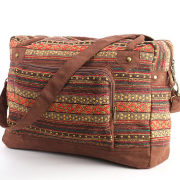 Hippie, Weekender Bag, Overnight Bag, Lightweight Vacation Bag Ethnic, Tribal, Folk, Duffle Bag